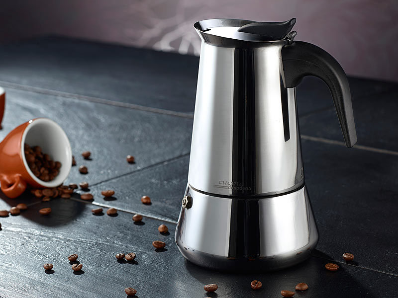 cucina di modena edelstahl espressokocher f r 6 tassen f r induktion gas ceran. Black Bedroom Furniture Sets. Home Design Ideas